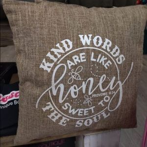 Kind Words are like Honey Rustic Chic Throw Pillow